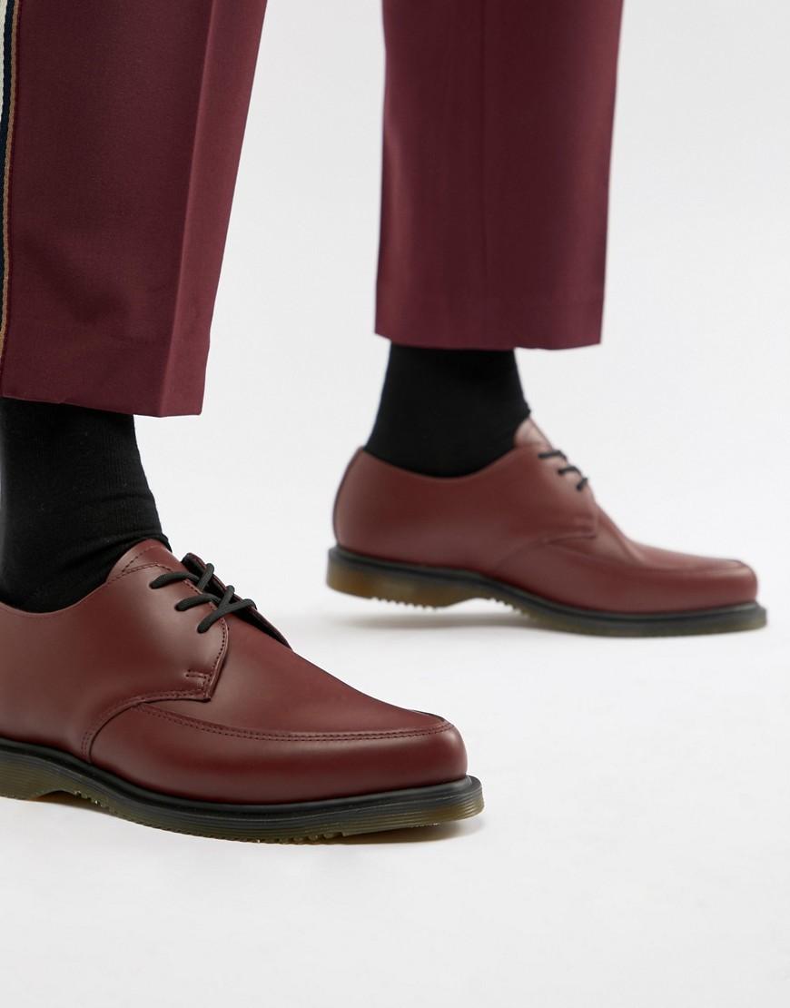 dunkelrote Leder Derby Schuhe von Dr. Martens
