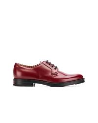 dunkelrote Leder Derby Schuhe von Gucci
