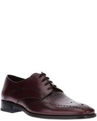 dunkelrote Leder Derby Schuhe von Kenzo