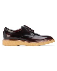 dunkelrote Leder Derby Schuhe von Tod's