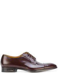 dunkelrote Leder Derby Schuhe von Paul Smith