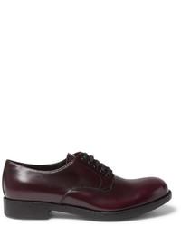 dunkelrote Leder Derby Schuhe von Prada