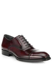 dunkelrote Leder Oxford Schuhe
