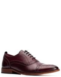 dunkelrote Leder Oxford Schuhe von Base London