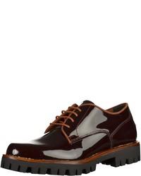 dunkelrote Leder Oxford Schuhe von Marco Tozzi