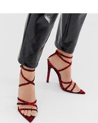 dunkelrote Leder Sandaletten mit Leopardenmuster von PrettyLittleThing