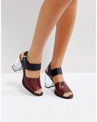 dunkelrote Leder Sandaletten von Asos