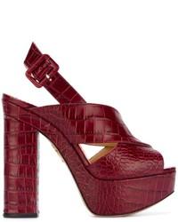 dunkelrote Leder Sandaletten von Charlotte Olympia