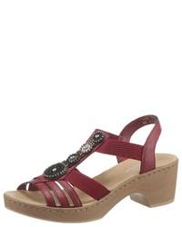 dunkelrote Leder Sandaletten von Rieker
