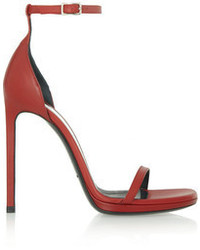 dunkelrote Leder Sandaletten von Saint Laurent