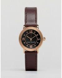 dunkelrote Leder Uhr von Marc Jacobs
