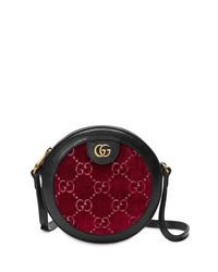 dunkelrote Leder Umhängetasche von Gucci