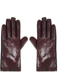 dunkelrote Lederhandschuhe