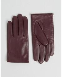 dunkelrote Lederhandschuhe von Asos