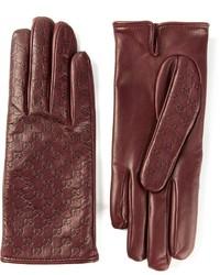 dunkelrote Lederhandschuhe von Gucci