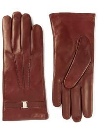 dunkelrote Lederhandschuhe von Salvatore Ferragamo