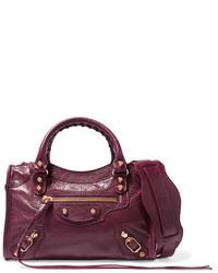 dunkelrote Lederhandtasche von Balenciaga
