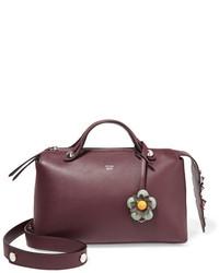 dunkelrote Lederhandtasche von Fendi