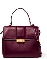 dunkelrote Lederhandtasche von Lanvin