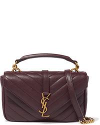 dunkelrote Lederhandtasche von Saint Laurent