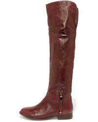 dunkelrote Overknee Stiefel aus Leder