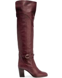 aus Modische für Overknee Leder dunkelrote Stiefel Winter