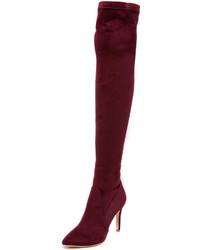 dunkelrote Overknee Stiefel aus Wildleder von Joie