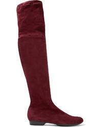 dunkelrote Overknee Stiefel aus Wildleder von Robert Clergerie