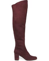 dunkelrote Overknee Stiefel aus Wildleder von Saint Laurent