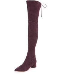 dunkelrote Overknee Stiefel aus Wildleder von Sigerson Morrison