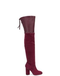 dunkelrote Overknee Stiefel aus Wildleder von Stuart Weitzman