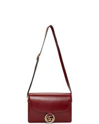 dunkelrote Satchel-Tasche aus Leder von Gucci