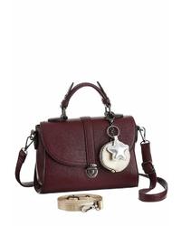 dunkelrote Satchel-Tasche aus Leder von J. JAYZ