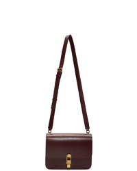 dunkelrote Satchel-Tasche aus Leder von Saint Laurent