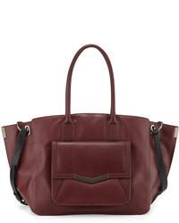 dunkelrote Shopper Tasche aus Leder
