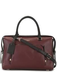 dunkelrote Shopper Tasche aus Leder von DKNY