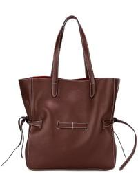 dunkelrote Shopper Tasche aus Leder von Jil Sander