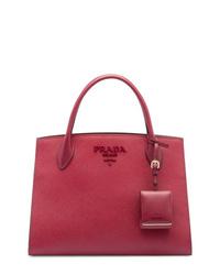 dunkelrote Shopper Tasche aus Leder von Prada