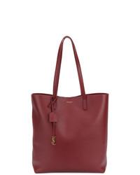 dunkelrote Shopper Tasche aus Leder von Saint Laurent
