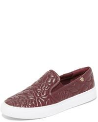 dunkelrote Slip-On Sneakers aus Leder von Tory Burch