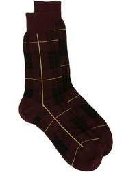 dunkelrote Socken mit Schottenmuster von Alexander McQueen