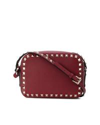 dunkelrote verzierte Leder Umhängetasche von Valentino