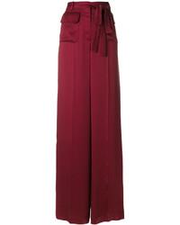 dunkelrote weite Hose aus Seide von Valentino