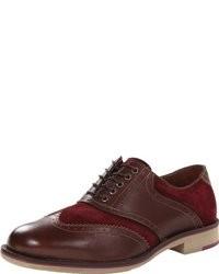 dunkelrote Wildleder Oxford Schuhe