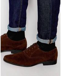 dunkelrote Wildleder Oxford Schuhe von Asos