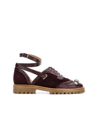 dunkelrote Wildleder Oxford Schuhe von Rue St