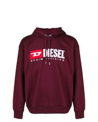 dunkelroter bedruckter Pullover mit einem Kapuze von Diesel