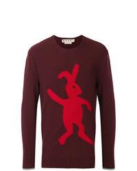 dunkelroter bedruckter Pullover mit einem Rundhalsausschnitt