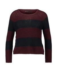 Dunkelroter horizontal gestreifter Pullover mit Rundhalsausschnitt von Only