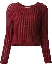 dunkelroter kurzer Pullover, schwarzer Skaterrock, braune Leder ... 98bc229189